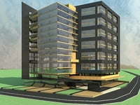3D modern state office building model