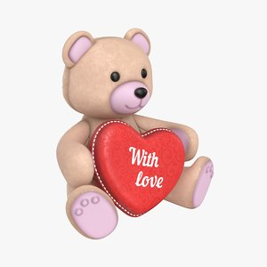 3D teddy bear heart beige model