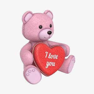 teddy bear heart rose 3D model