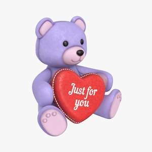 teddy bear heart purple 3D