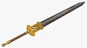 3d gold dwarven greatsword