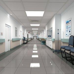 realistic hospital hallway 3D model