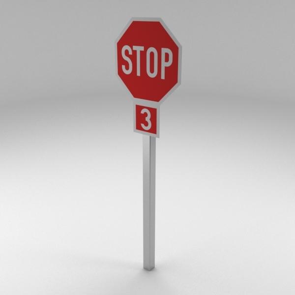 3D model traffic sign 3 way