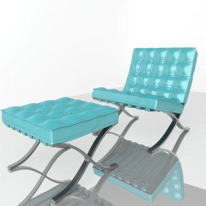 3D armchair barcelona chair