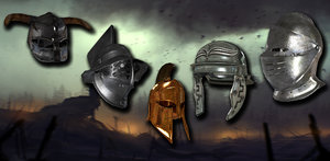 low-poly medieval helmets 3D model