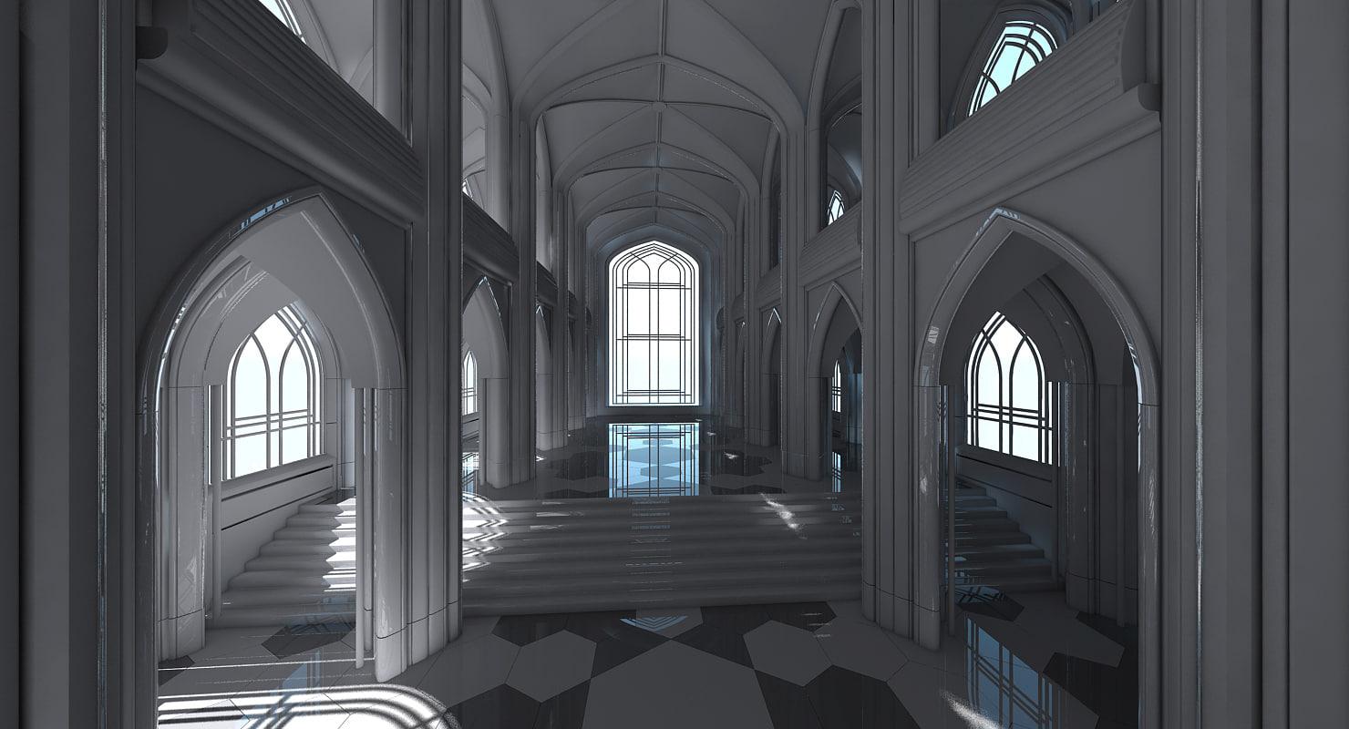 3D classic futuristic cathedral interior