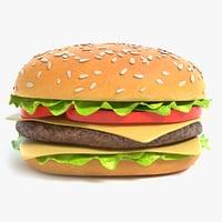 3D cheeseburger pbr model