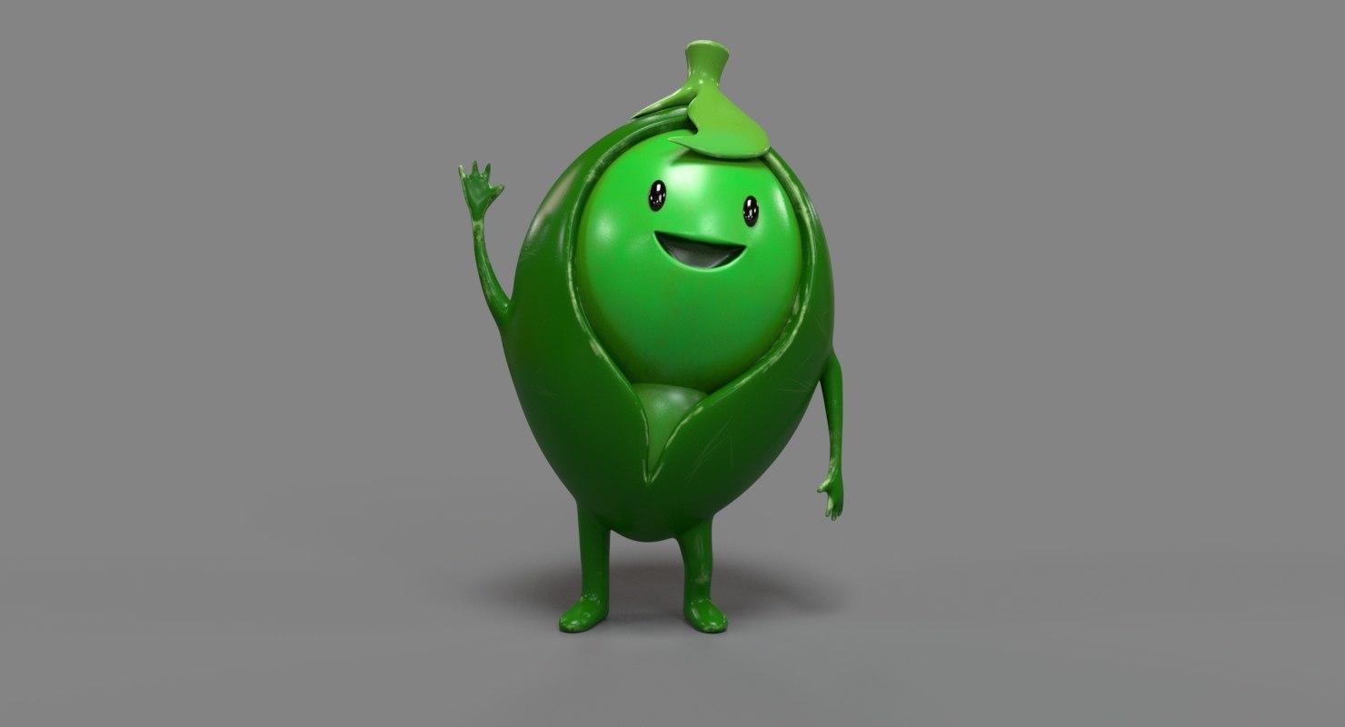 pea cartoon character 3D model