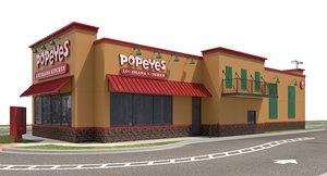 3D exterior restaurant popeyes signage model