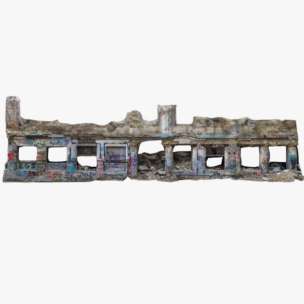 3D model rruined building facade