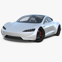 3D model tesla roadster rigged