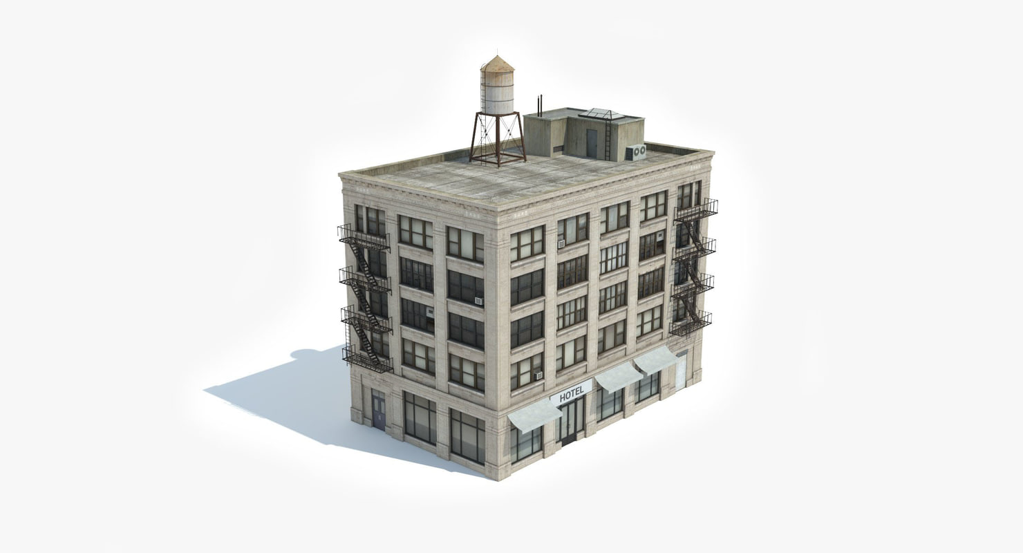 3D model ready 5 apartment buildings