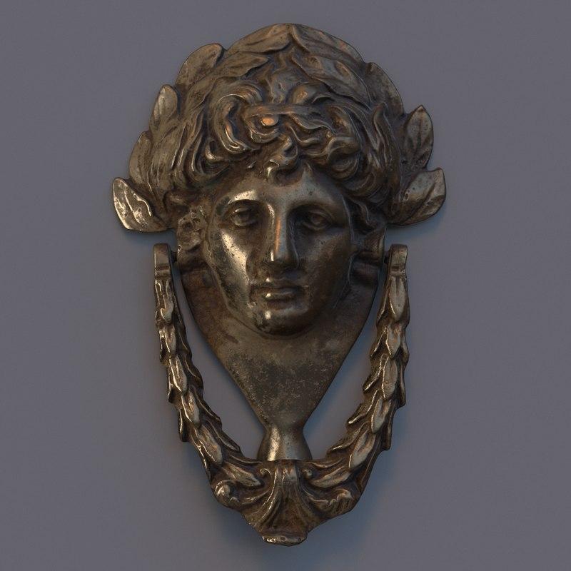 ... Victorian Door Knocker Head 3D Model ...