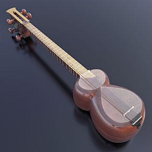 3D musical instrument azerbaijan tar model