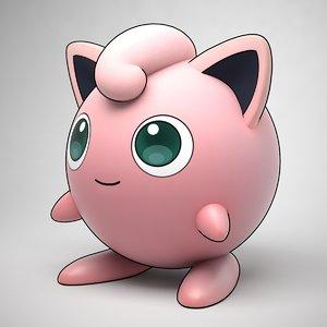 3D jigglypuff pokemon stylized model