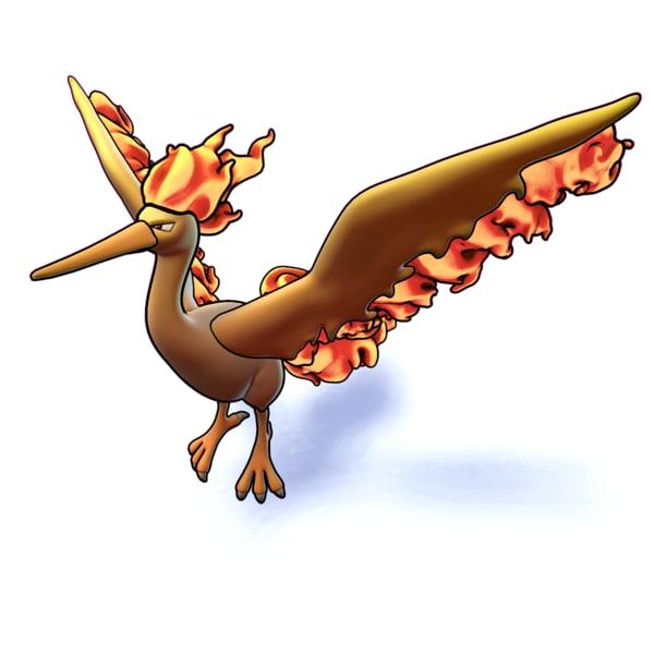 moltress pokemon 3D
