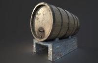 Low Poly Wine Barrel