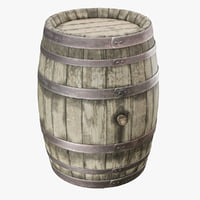 3D old wooden wine barrel model