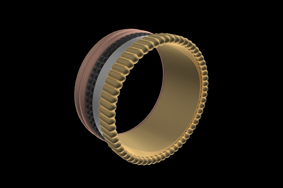 3D boucheron quatre gold ring model