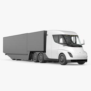3D electric semi truck tesla model