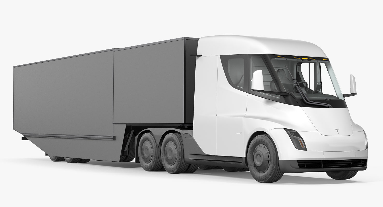 3D electric semi truck tesla model