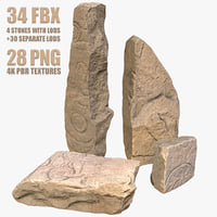 photorealistic fantasy stones 3D model