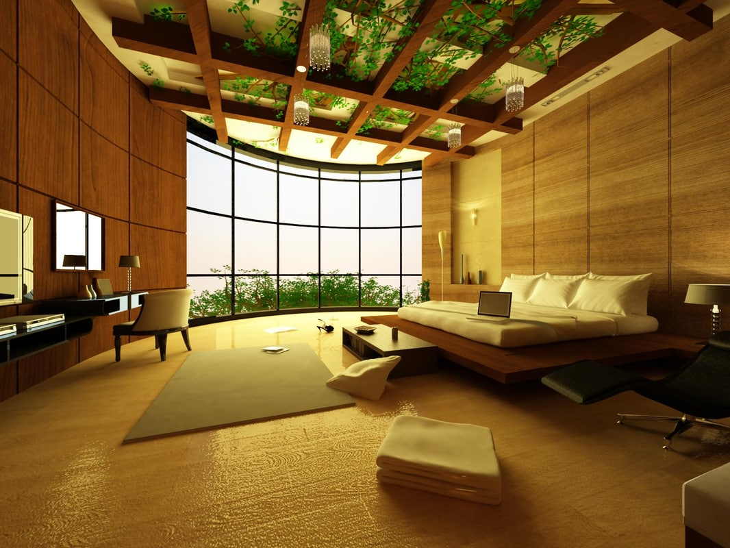 realistic luxurious bedroom 3D model