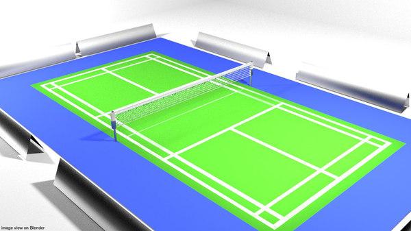 badminton court 3D model