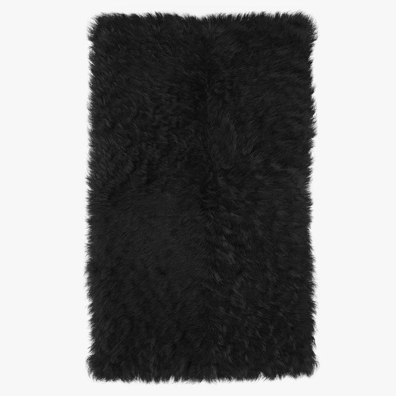 3D wool mongolian fur rug