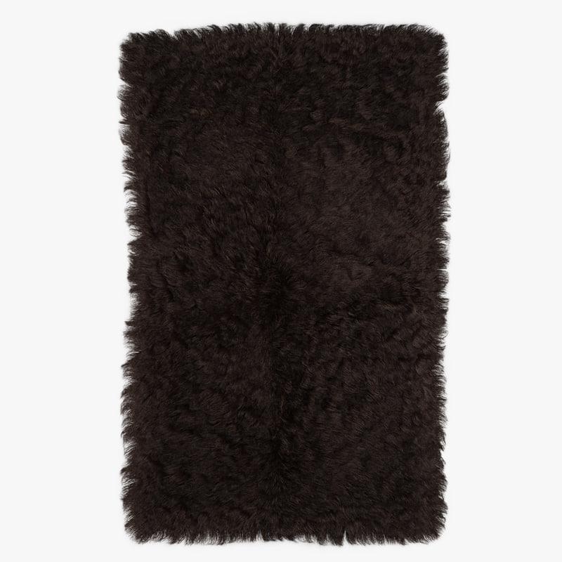 wool mongolian fur rug 3D