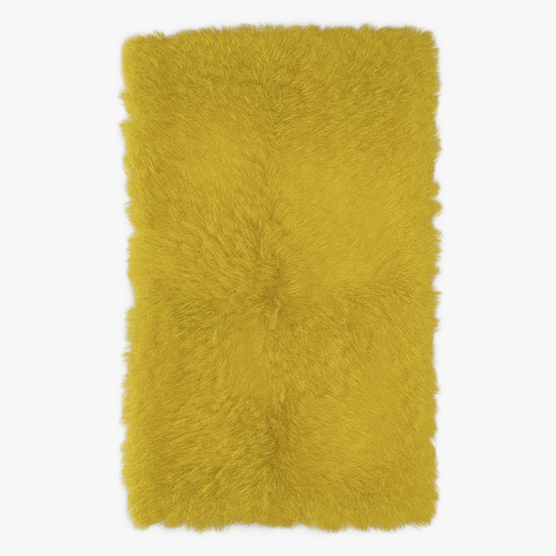 3D model wool mongolian fur rug