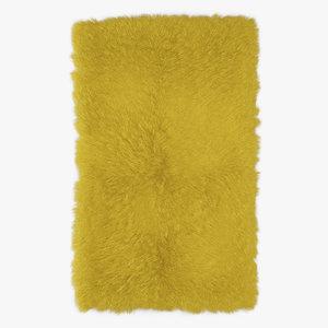 3D model wool mongolian fur rug
