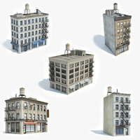 3D model ready 5 apartment buildings
