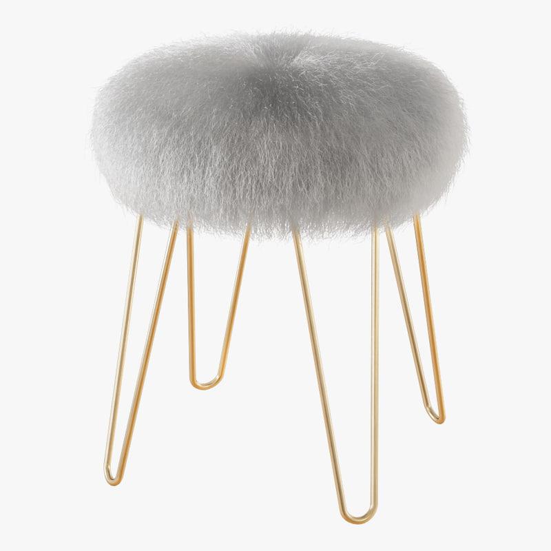 3D blanco stool - white fur