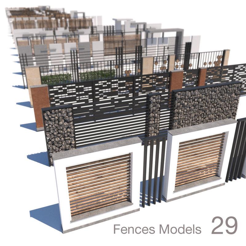 modern fence 3D model