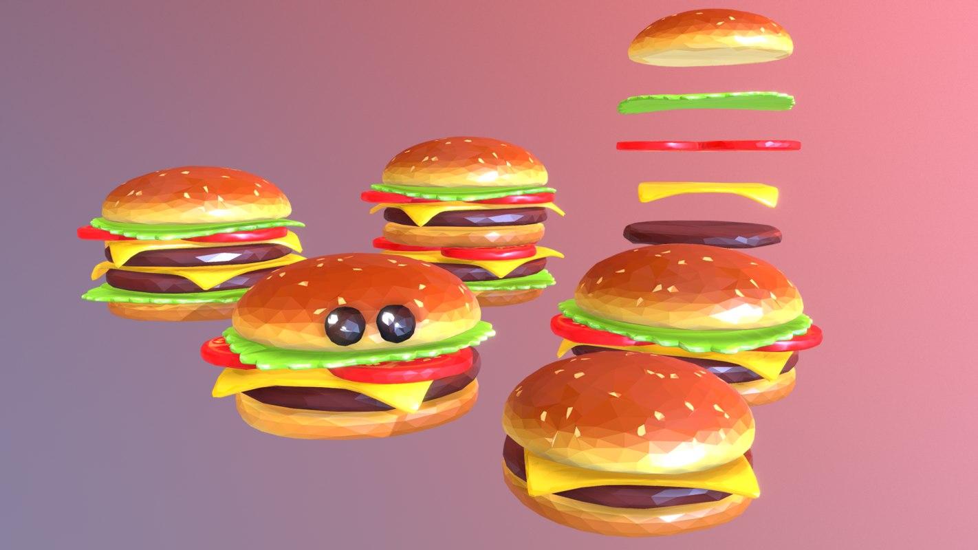 3D constructor lowpolyart burger cheeseburger