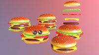 Lowpolyart burger cheeseburger constructor VR / AR / low-poly 3D model