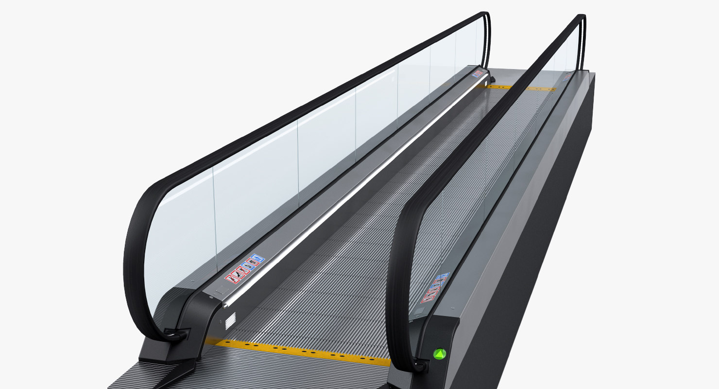 3D airport moving walkway rigged model