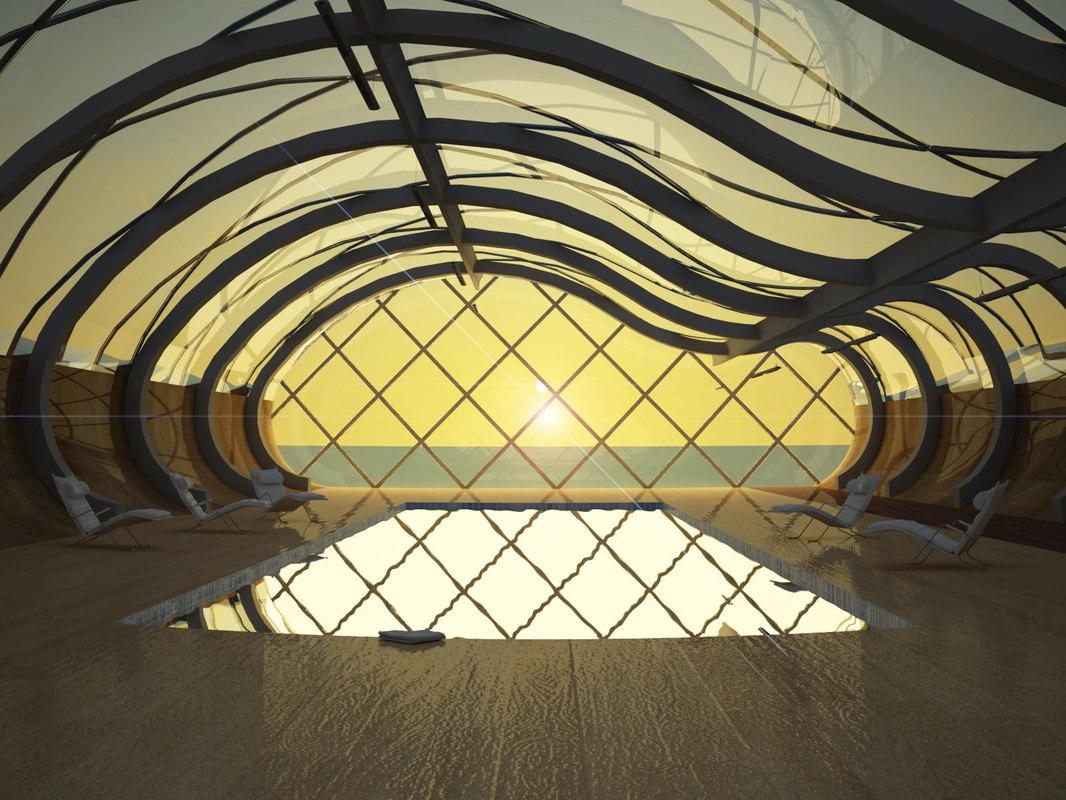 3D model interior indoor swimming pool water