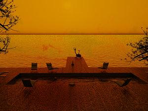 swimming pool sunset 3D model