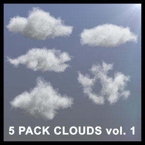 3D model 5 pack clouds vdb