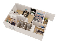 3D cutaway apartment modern