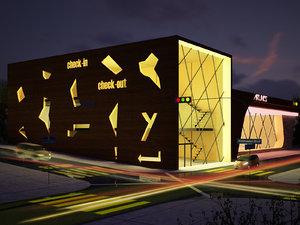 night multipurpose retail building 3D model