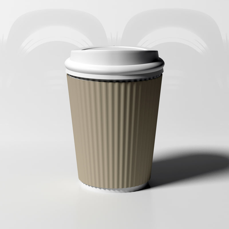 3D coffee cup wrap-around model