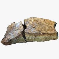 flat broken limestone 3D model