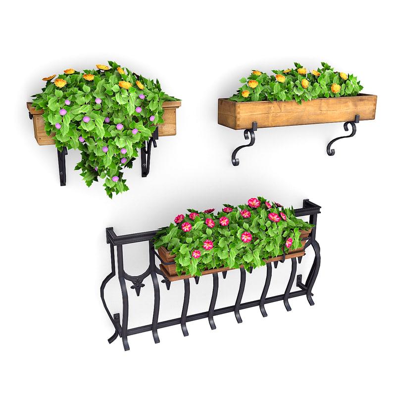 plants potted 3D model