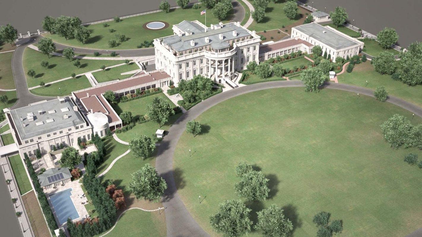 3D white house complex