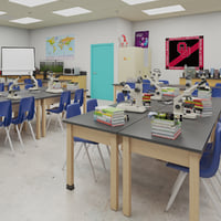 Photorealistic Detail School Science Laboratory Interior Architecture