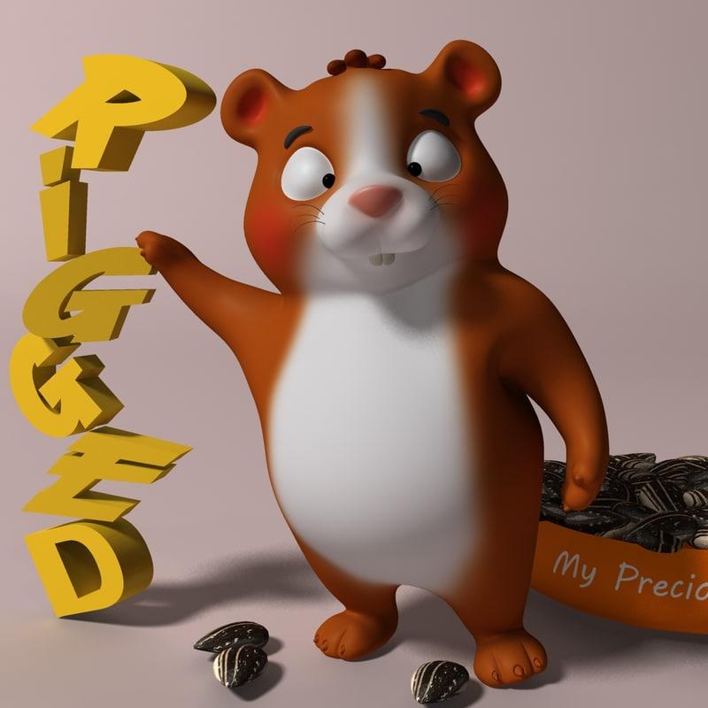 cartoon hamster rigged model