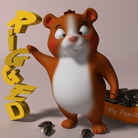 cartoon hamster rigged model